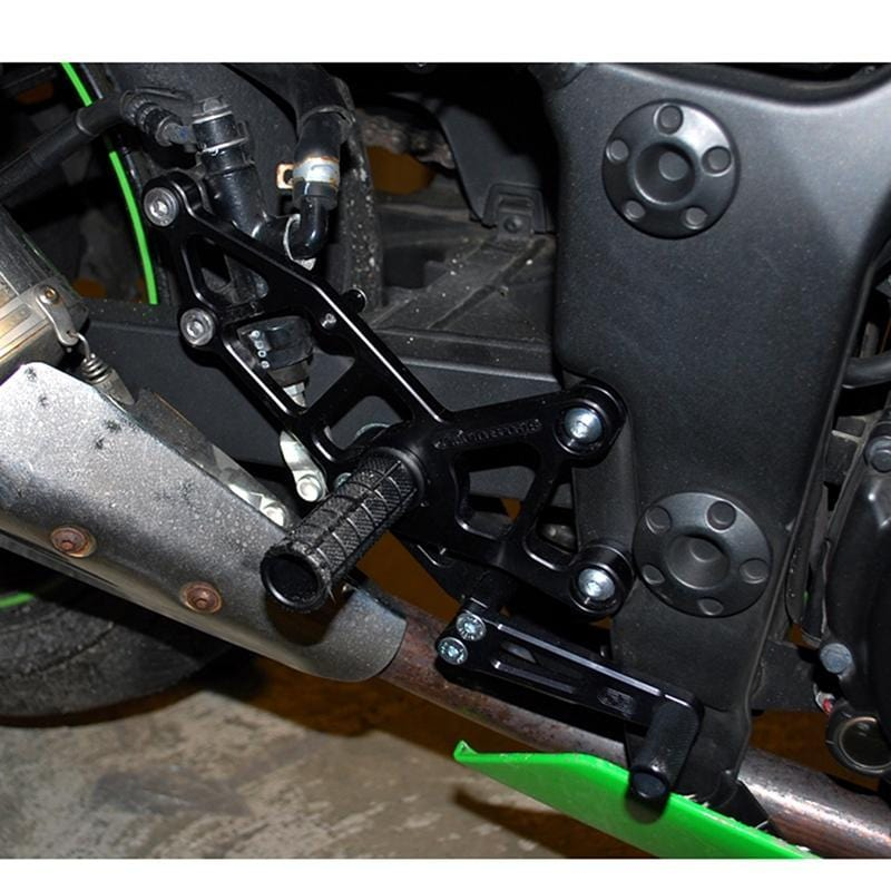 05-4133B Kawasaki Ninja 300 Complete Rearset w/shift and Brake Pedals - Woodcraft Technologies - Motorcycle Parts