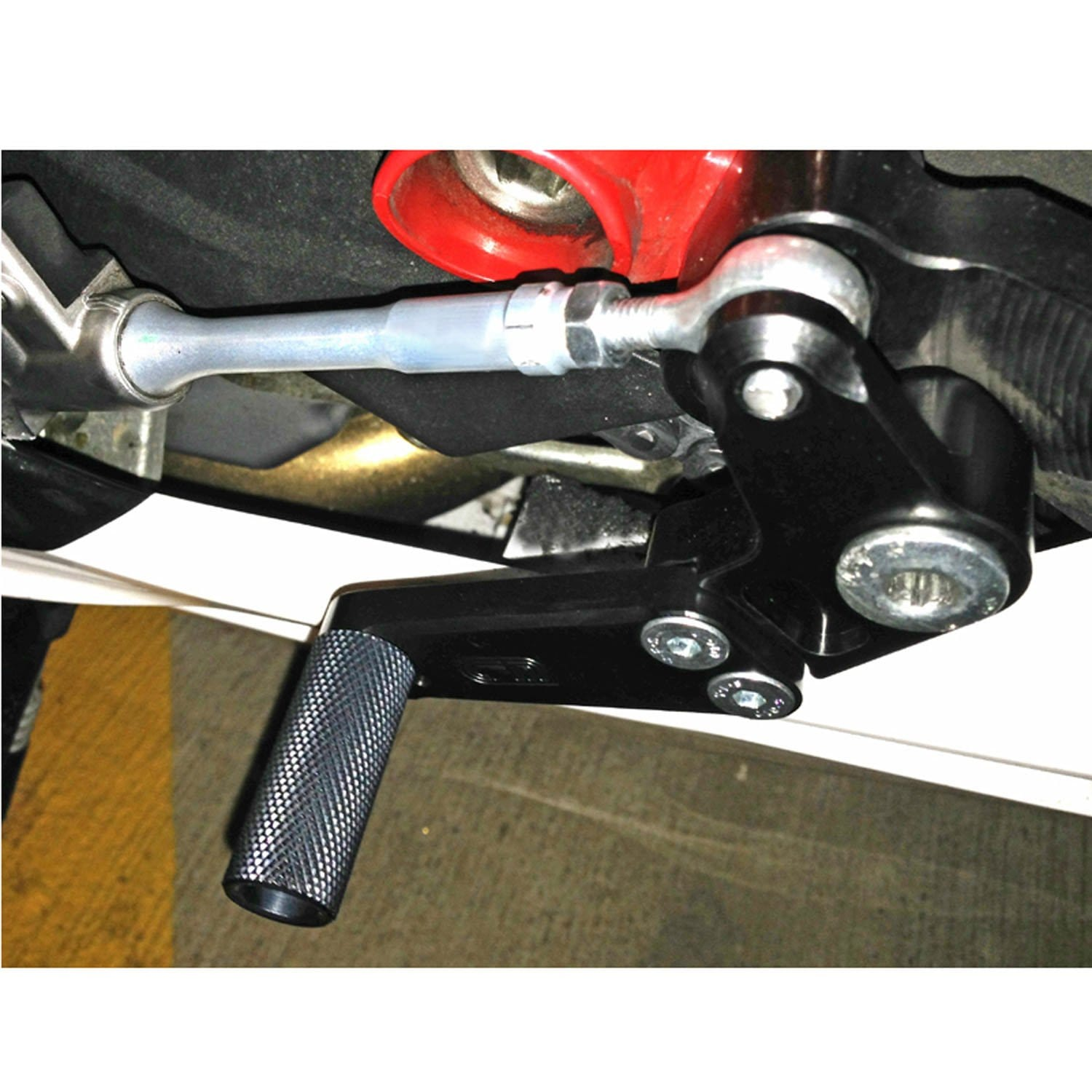 08-0641 Duc '11+ 1198SP, '12+ 848 Evo Complete Black GP Shift Pedal Assembly (factory QS) - Woodcraft Technologies - Motorcycle Parts