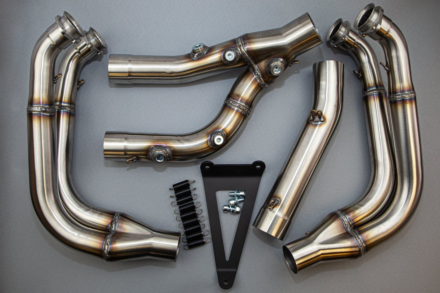 BMW 2020 S1000RR Full/Evo Megaphone High Race Front Section, Stainless (12225) - Woodcraft Technologies - Motorcycle Parts