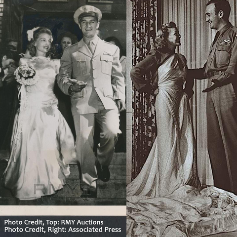 Elyse Knox and Tom Harmon's wedding. The bride is wearing a dress made from her groom's parachute