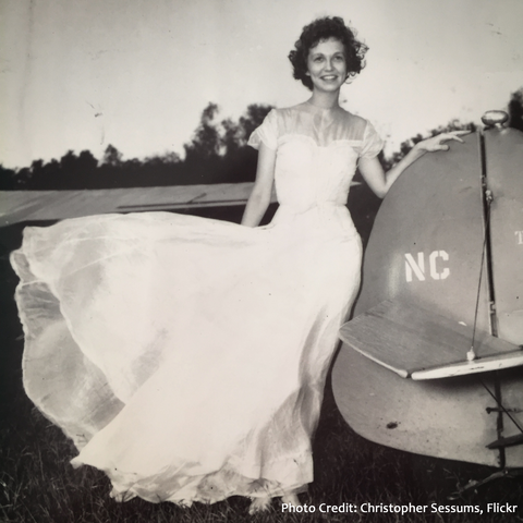Mrs. Harriet Sessums, wife of Capt. Walter M. Sessums, an early helicopter pilot in U.S. Navy, in her parachute-silk wedding gown.