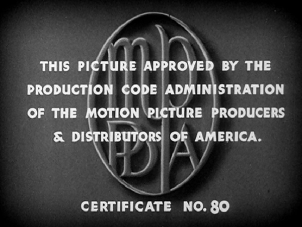 Hays Production Code Approval Certificate Title Screen