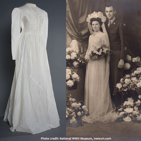 The wedding of Myrtille Delassus and Sgt. Joseph Bilodeau, 1945, and a picture of the dress from an exhibit at the National WWII Museum in New Orleans.