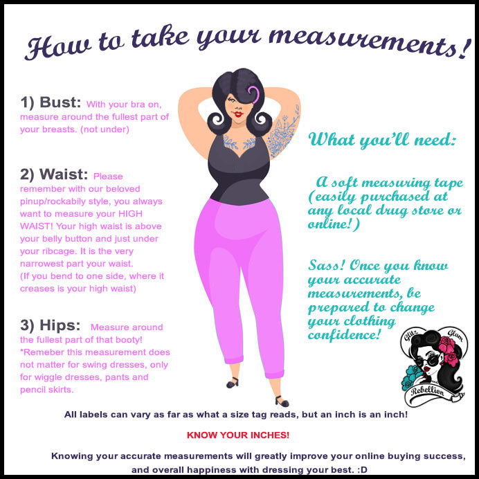 how to take your measurements for pinup and rockabilly fashions