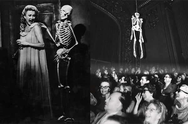 R: A scene from House on Haunted Hill (1959); L: Emergo, a wire-controlled skeleton at a showing of House on Haunted Hill