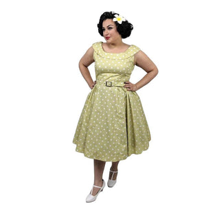 Peter Pan Collar Housewife Dress in Chartreuse-Dress-Glitz Glam and Rebellion GGR Pinup, Retro, and Rockabilly Fashions