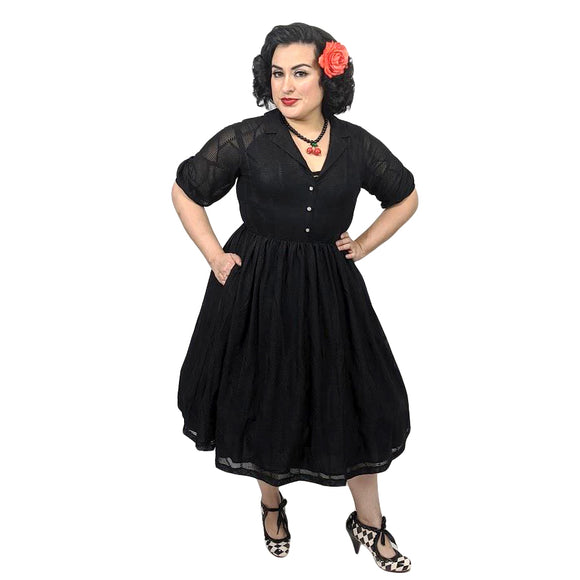Tatyana Lily Dress in Black-Dress-Glitz Glam and Rebellion GGR Pinup, Retro, and Rockabilly Fashions