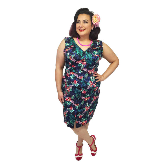 H&R London Tropical Safari Wiggle-Wiggle Dress-Glitz Glam and Rebellion GGR Pinup, Retro, and Rockabilly Fashions