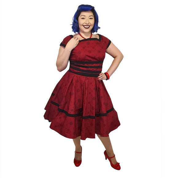 GGR Floral Swing Dress in Dark Red - SPECIAL!-Dress-Glitz Glam and Rebellion GGR Pinup, Retro, and Rockabilly Fashions