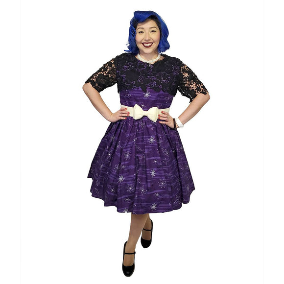 GGR Purple Retro Atomic Print Dress - SPECIAL!-Dress-Glitz Glam and Rebellion GGR Pinup, Retro, and Rockabilly Fashions