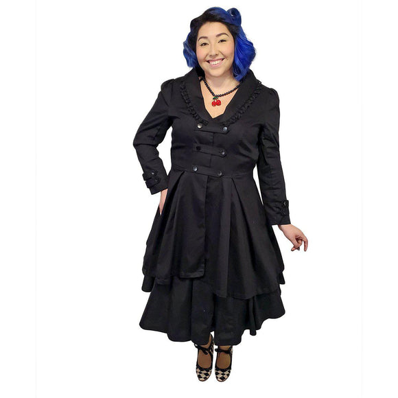 GGR Lace Trim Swing Coat in Black-Coat-Glitz Glam and Rebellion GGR Pinup, Retro, and Rockabilly Fashions