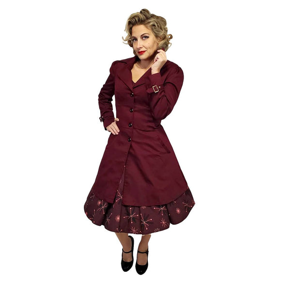 Corset Tie Coat in Burgundy-Coat-Glitz Glam and Rebellion GGR Pinup, Retro, and Rockabilly Fashions