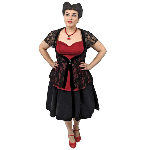 GGR Be Still My Heart Lace Overlay Top in Red - SPECIAL!-Top-Glitz Glam and Rebellion GGR Pinup, Retro, and Rockabilly Fashions