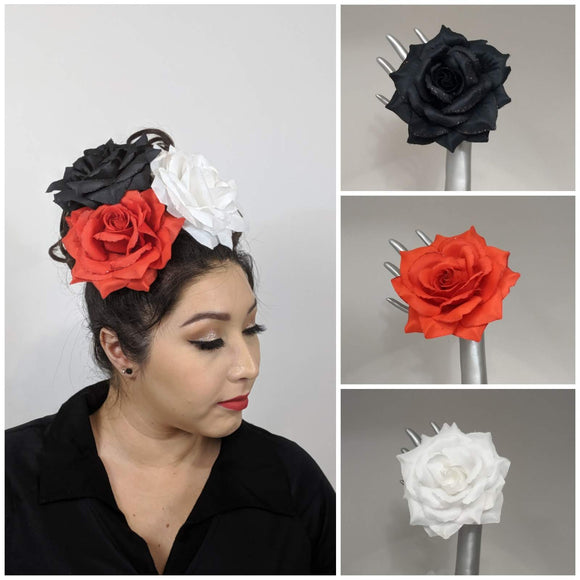 GGR GIANT Gorgeous Glitter Rose Hair flower Set 1-Hair Accessory-Glitz Glam and Rebellion GGR Pinup, Retro, and Rockabilly Fashions