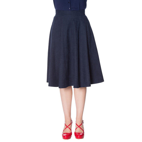 Banned Sophisticated Lady Skirt in Navy-Skirts-Glitz Glam and Rebellion GGR Pinup, Retro, and Rockabilly Fashions