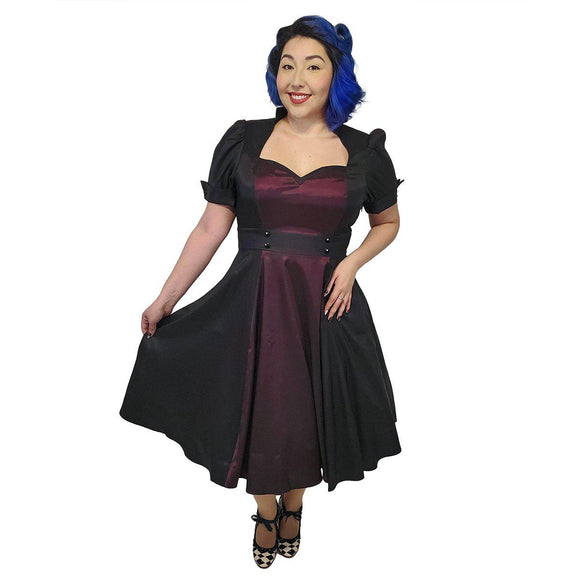 GGR Nights in Satin Opera Dress in Purple - SPECIAL!-Dress-Glitz Glam and Rebellion GGR Pinup, Retro, and Rockabilly Fashions