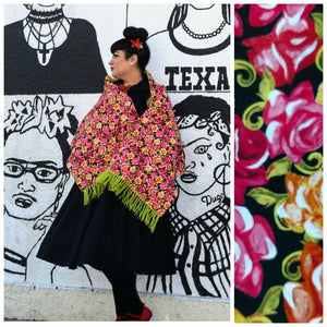 GGR Rebozo in Orange and Pink Floral-Rebozos-Glitz Glam and Rebellion GGR Pinup, Retro, and Rockabilly Fashions