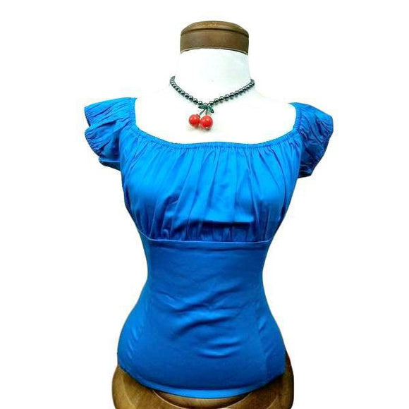 GGR Pinup Peasant Top in Solid Turquoise Blue-Blouse-Glitz Glam and Rebellion GGR Pinup, Retro, and Rockabilly Fashions
