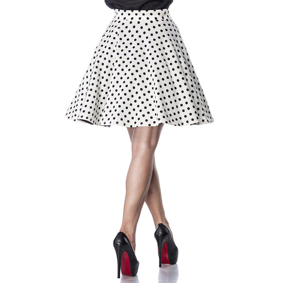 Belsira White with Black Polka Dots Circle Skirt-Skirts-Glitz Glam and Rebellion GGR Pinup, Retro, and Rockabilly Fashions
