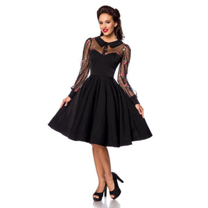 Belsira Mesh Overlay Swing Dress in Black & Floral-Dress-Glitz Glam and Rebellion GGR Pinup, Retro, and Rockabilly Fashions