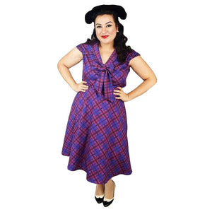 GGR Lilly Swing Dress in Purple Plaid-Swing Dress-Glitz Glam and Rebellion GGR Pinup, Retro, and Rockabilly Fashions