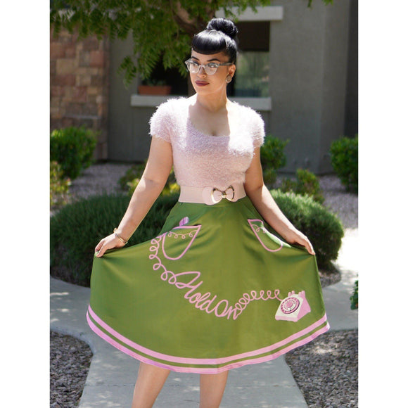 Kissing Charlie Hold On Circle Skirt in Green and Pink-Skirts-Glitz Glam and Rebellion GGR Pinup, Retro, and Rockabilly Fashions