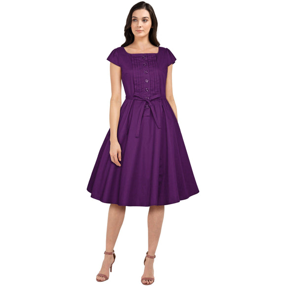 GGR Pleated Pauline Dress in Purple-Dress-Glitz Glam and Rebellion GGR Pinup, Retro, and Rockabilly Fashions