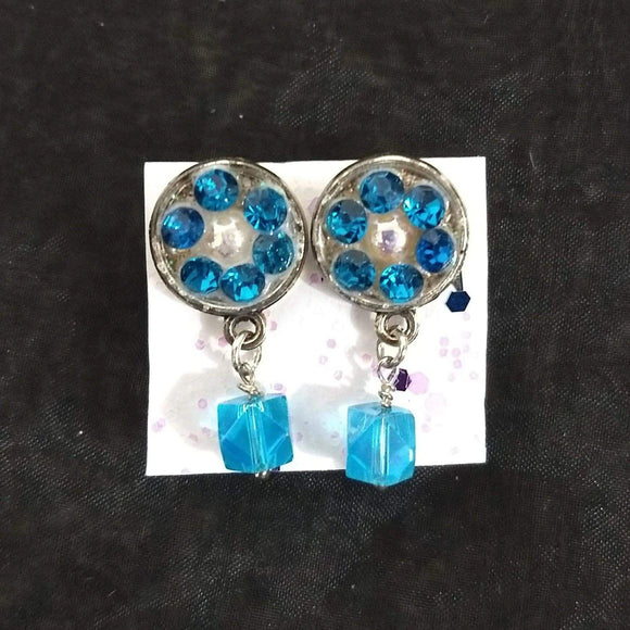 Aye Que Chula Aqua Earrings-Earrings-Glitz Glam and Rebellion GGR Pinup, Retro, and Rockabilly Fashions