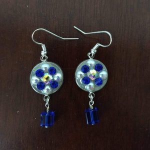 Aye Que Chula Blue and Silver Earrings-Earrings-Glitz Glam and Rebellion GGR Pinup, Retro, and Rockabilly Fashions