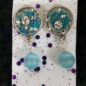 Aye Que Chula Water Blue Earrings-Aye Que Chula-Glitz Glam and Rebellion GGR Pinup, Retro, and Rockabilly Fashions