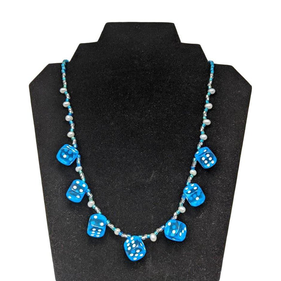 Aye Que Chula Ocean Blue Dice Necklace-Aye Que Chula-Glitz Glam and Rebellion GGR Pinup, Retro, and Rockabilly Fashions