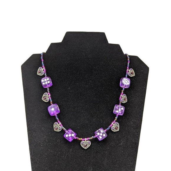Aye Que Chula Purple Heart Necklace-Aye Que Chula-Glitz Glam and Rebellion GGR Pinup, Retro, and Rockabilly Fashions