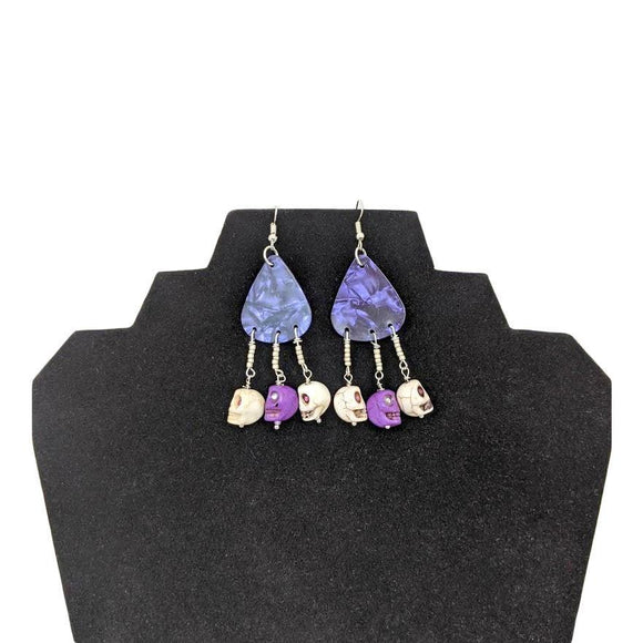 Aye Que Chula Purple Rock Earrings-Aye Que Chula-Glitz Glam and Rebellion GGR Pinup, Retro, and Rockabilly Fashions