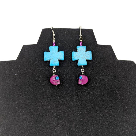 Aye Que Chula Turquoise and Plum Skull Earrings-Aye Que Chula-Glitz Glam and Rebellion GGR Pinup, Retro, and Rockabilly Fashions