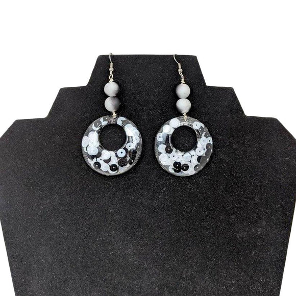 Aye Que Chula Ultra-Light Black and White Earrings-Aye Que Chula-Glitz Glam and Rebellion GGR Pinup, Retro, and Rockabilly Fashions