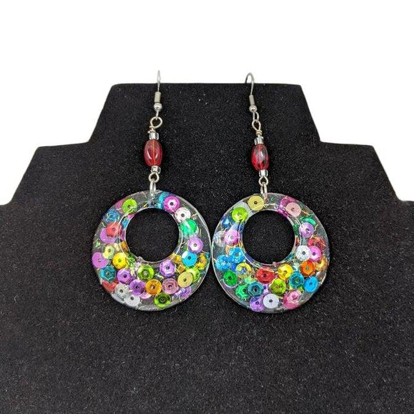 Aye Que Chula Ultra-Light Rainbow Circle Earrings-Aye Que Chula-Glitz Glam and Rebellion GGR Pinup, Retro, and Rockabilly Fashions