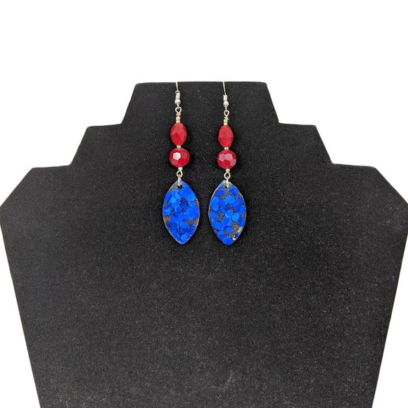 Aye Que Chula Ultra-Light Red and Blue Earrings-Aye Que Chula-Glitz Glam and Rebellion GGR Pinup, Retro, and Rockabilly Fashions