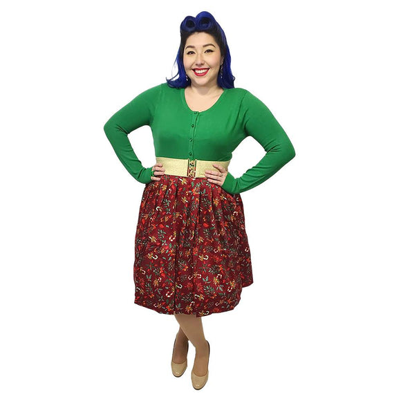 Banned Christmas Skirt in Burgundy-Skirts-Glitz Glam and Rebellion GGR Pinup, Retro, and Rockabilly Fashions