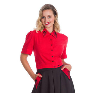 Banned Good VS Bad Blouse-Blouse-Glitz Glam and Rebellion GGR Pinup, Retro, and Rockabilly Fashions