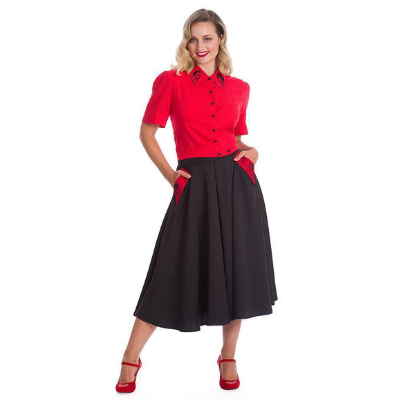 Banned Good VS Bad Swing Skirt-Skirts-Glitz Glam and Rebellion GGR Pinup, Retro, and Rockabilly Fashions