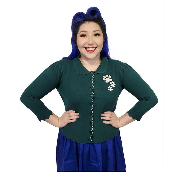 Banned Paw Print Cardigan in Green-Cardigan-Glitz Glam and Rebellion GGR Pinup, Retro, and Rockabilly Fashions