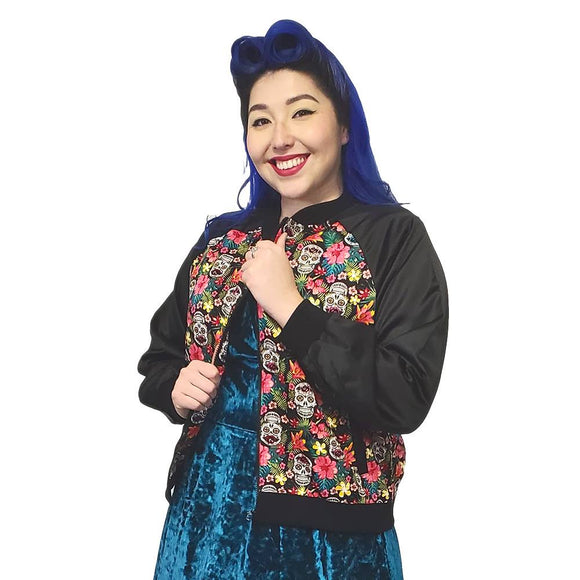 Banned Sugar Skull Bomber Jacket-Jacket-Glitz Glam and Rebellion GGR Pinup, Retro, and Rockabilly Fashions