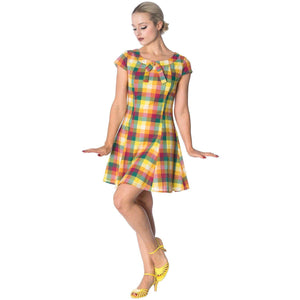 Banned Rainbow Check Mod Dress-Dress-Glitz Glam and Rebellion GGR Pinup, Retro, and Rockabilly Fashions
