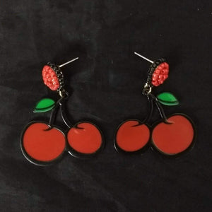 GGR Jewelry Earrings of Metal Cherries-Earrings-Glitz Glam and Rebellion GGR Pinup, Retro, and Rockabilly Fashions