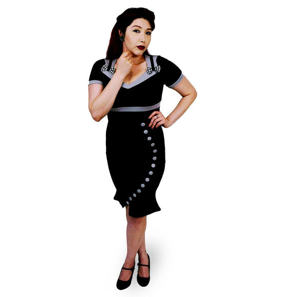 GGR Curvalicious Button Wiggle Dress in Black-Wiggle Dress-Glitz Glam and Rebellion GGR Pinup, Retro, and Rockabilly Fashions
