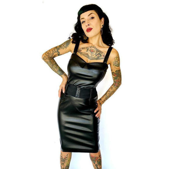 GGR Darling Wiggle in Faux Leather-Wiggle Dress-Glitz Glam and Rebellion GGR Pinup, Retro, and Rockabilly Fashions