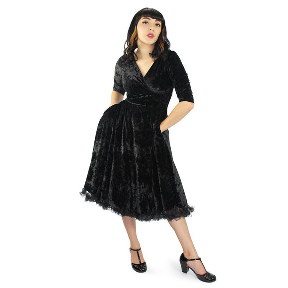 Hemet Holiday Black Velvet Circle Dress-Dress-Glitz Glam and Rebellion GGR Pinup, Retro, and Rockabilly Fashions