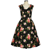 GGR Cap Sleeve Swing Dress in Floral Print on Black-Dress-Glitz Glam and Rebellion GGR Pinup, Retro, and Rockabilly Fashions