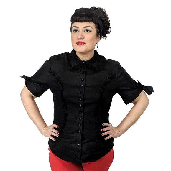 update alt-text with template GGR Lace Trimmed Shirt in Black-Top-Glitz Glam and Rebellion GGR Pinup, Retro, and Rockabilly Fashions