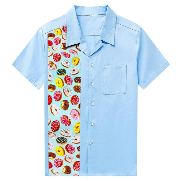 GGR Men's Bowling Shirt in Sky Blue with Donut Print Panel-Men's Bowling Shirt-Glitz Glam and Rebellion GGR Pinup, Retro, and Rockabilly Fashions